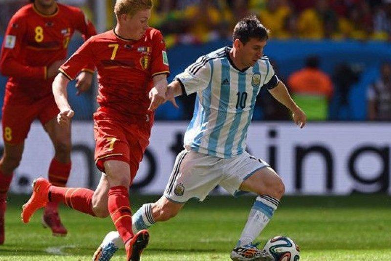 比利時對戰阿根廷一役,梅西表現精采過人。(騰訊大家網)