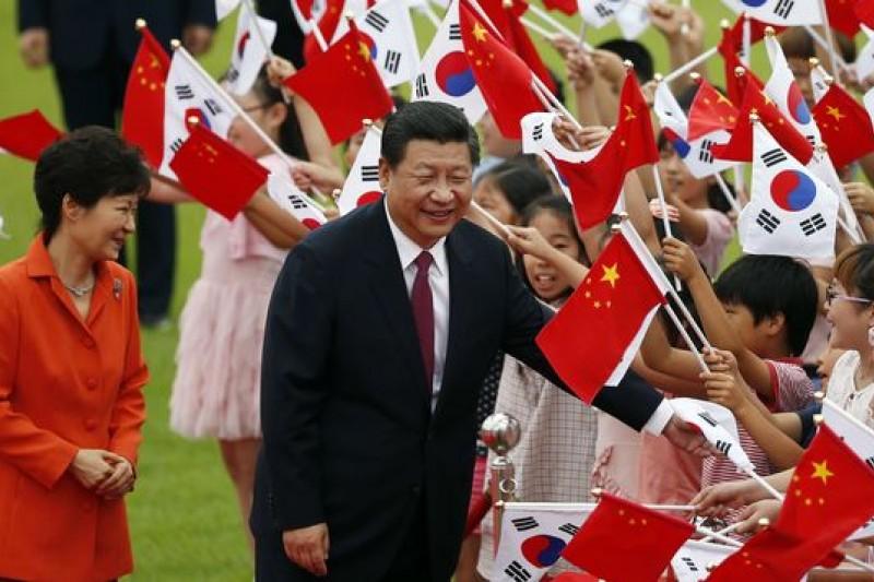 中國國家主席習近平訪韓,賓主盡歡,台灣卻一籌莫展。(美聯社)