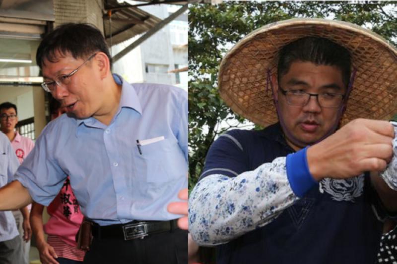 柯文哲(左)與連勝文(右)兩位參選人,讓台北市民不知從何選起。(吳逸驊、余志偉攝)