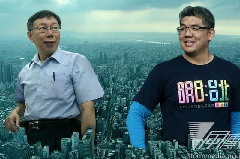 後太陽花的台北市長選舉,連勝文、柯文哲所代表的,正好站在歷史圍牆的兩邊。(吳逸驊、余志偉、葉信菉攝/影像合成:風傳媒)