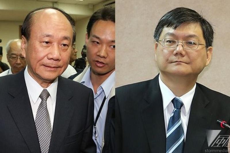 經濟部長張家祝(左)聲明請辭後,經濟部長次長杜紫軍(右)7日傍晚跟進表示「與部長同進退」。(吳逸驊、余志偉攝)