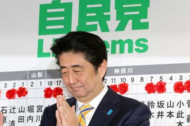 日本眾議院改選,安倍領導的自民黨大勝。(騰訊大家網/CFP供圖)