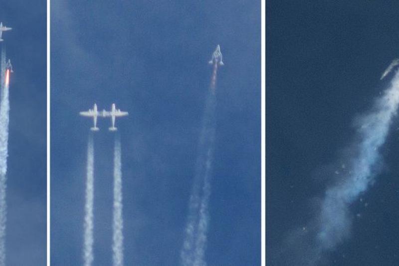 太空旅遊業眾望所歸的「太空船2號」31日在美國加州上空試飛時出事,造成1死1傷。(美聯社)