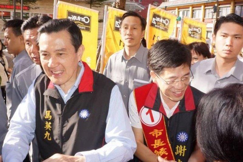 基隆選情吃緊,國民黨主席、馬英九總統23日特別前往基隆,陪同基隆市長候選人謝立功拉票。(取自謝立功臉書)