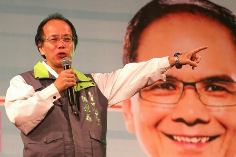 柯文哲辦公室政策總監張景森為民進黨新北市長游錫堃造勢。(余志偉攝)