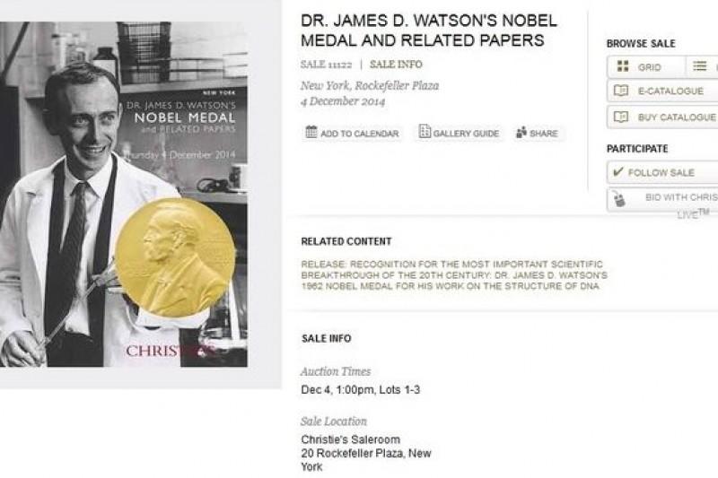發現DNA雙股螺旋結構的諾貝爾獎得主華生將拍賣純金獎牌。(取自佳士得官網)