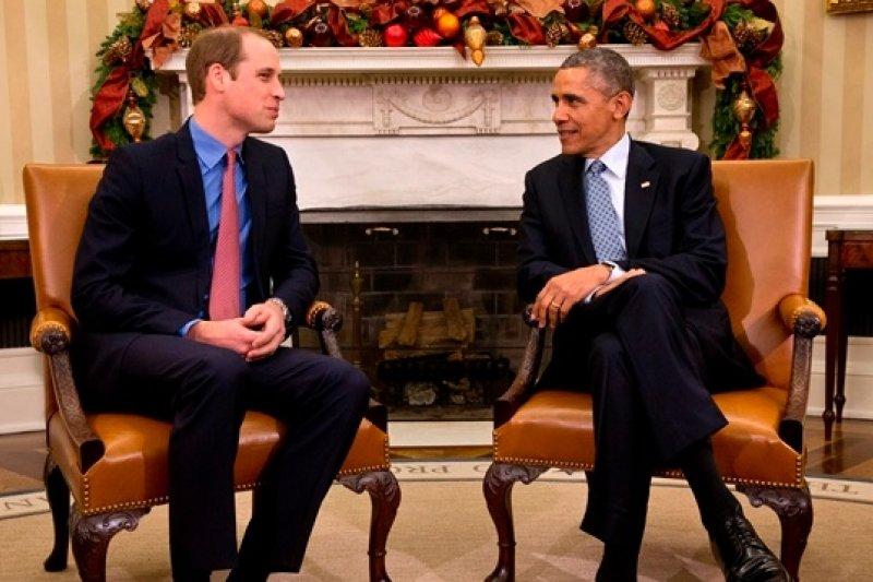 英國威廉王子8日與美國總統歐巴馬於白宮會面(美聯社)