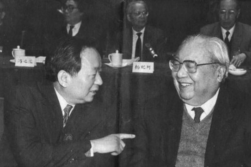 1992年田紀雲(左)在民盟大會與費孝通(右)交談。(取自CFP)