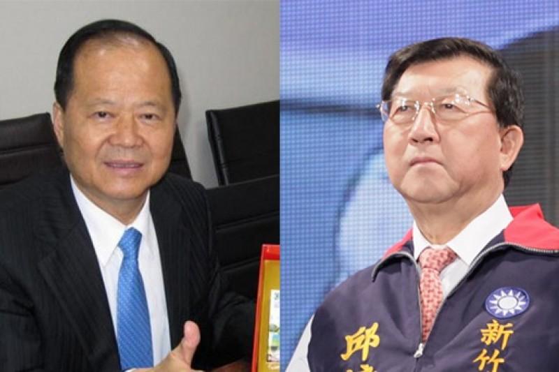 國民黨3日中常會邀新竹縣長提名人邱鏡淳(左)專案報告,有中常會要求趕快處理違紀參選的鄭永金(右)。(風傳媒合成)