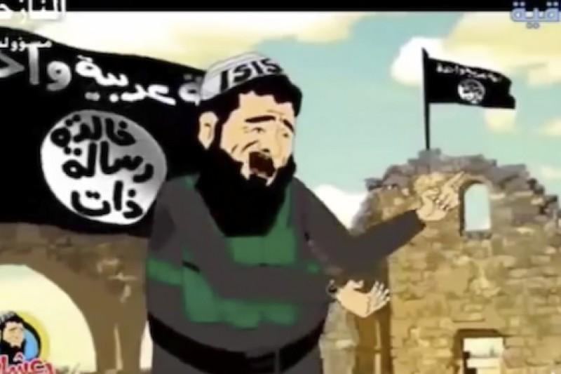 伊拉克國營電台以卡通方式,對IS站開負面宣傳戰。(美聯社)
