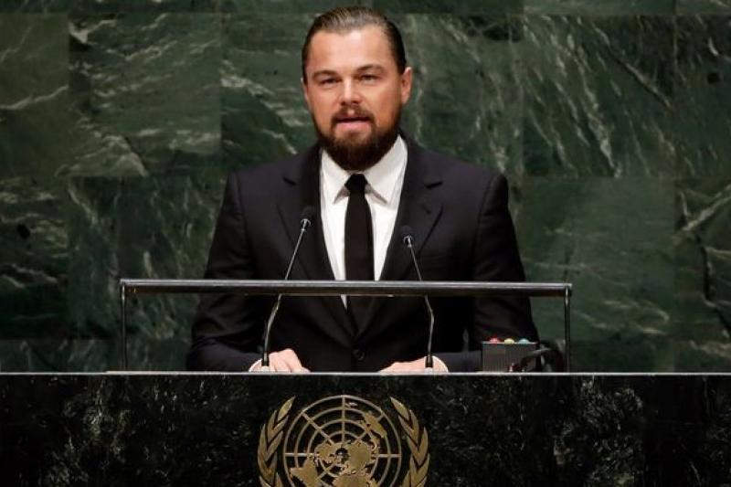 好萊塢男星李奧納多狄卡皮歐出席聯合國氣候峰會,呼籲各國政府採取行動(美聯社)