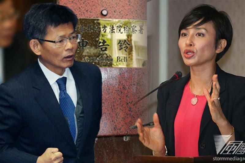 針對綠委邱議瑩(右)等人於政論節目上稱楊秋興(左)「背骨」,楊10日表示將於下周一對2人提告。(余志偉攝/影像合成:風傳媒)