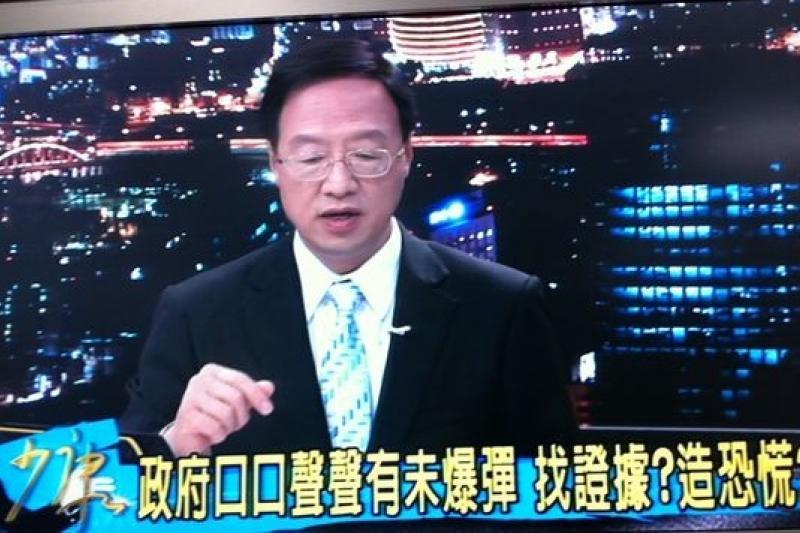 行政院長江宜樺16日接受TVBS電視人趙少康訪問,為南僑工「工業油」掛保證。(何孟奎攝)