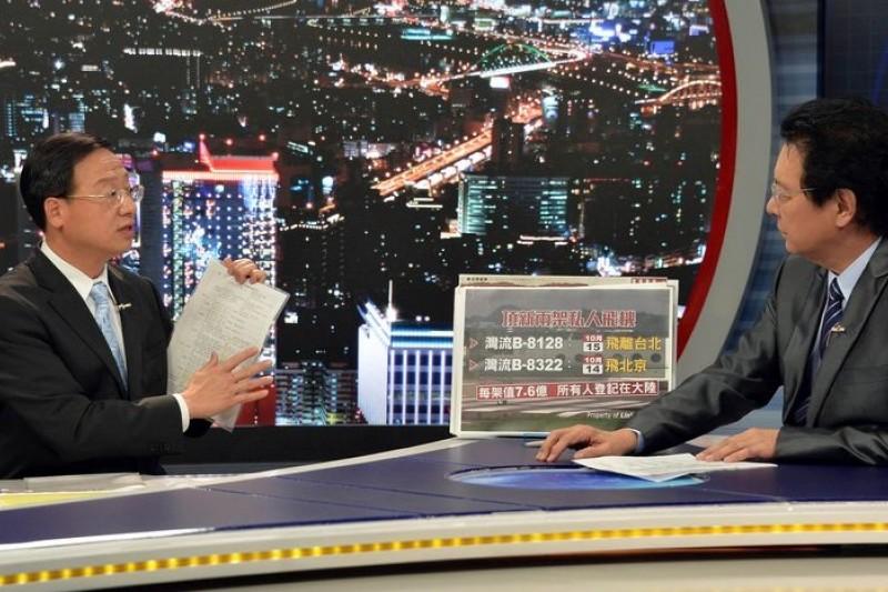 行政院長江宜樺(左)16日強調,對頂新魏家一定秉公處理。(TVBS提供)