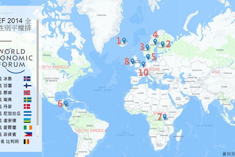 世界經濟論壇28日發布第9版《全球性別權利落差報告》(風傳媒製圖)