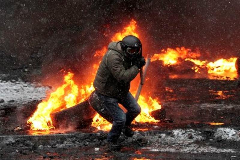 1月22日是烏克蘭的統一紀念日,但今年的紀念日卻發生濺血衝突(美聯社)