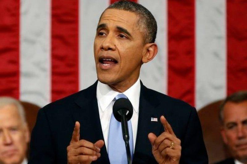 美國總統歐巴馬28日晚間在國會發表國情咨文,勾勒未來一年的施政藍圖。(美聯社)