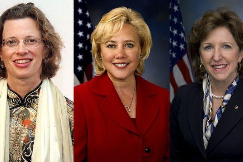 努恩、蘭翠兒與荷根(由左至右)將成為民主黨能否續掌參院的關鍵選將。(取自網路)
