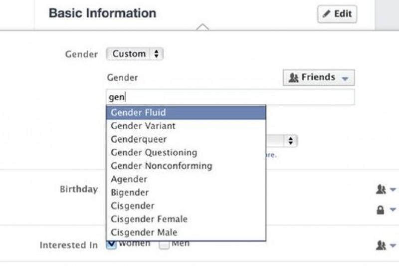 未來Facebook基本資訊欄目將有50種性傾向可選(取自網路)