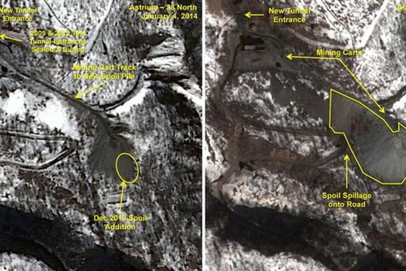 今年1月的衛星空照顯示,北韓已加速挖掘地下核子試爆場。南韓正考慮使用網戰牽制北韓的核子野心(美聯社)
