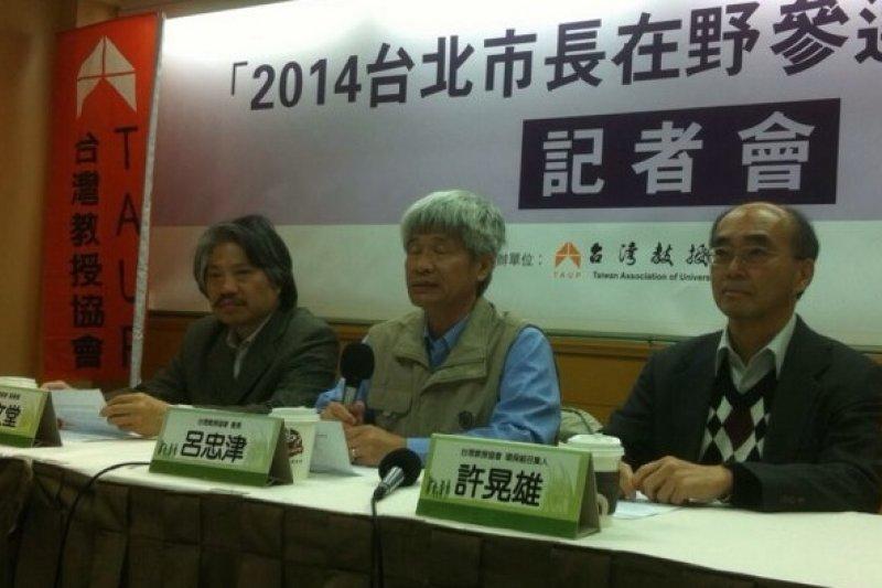 台教會將舉辦在野陣營的台北市長參選人辯論會,因柯文哲可能缺席,讓顧立雄對辯論會是否該續辦產生疑問。(顏振凱攝)