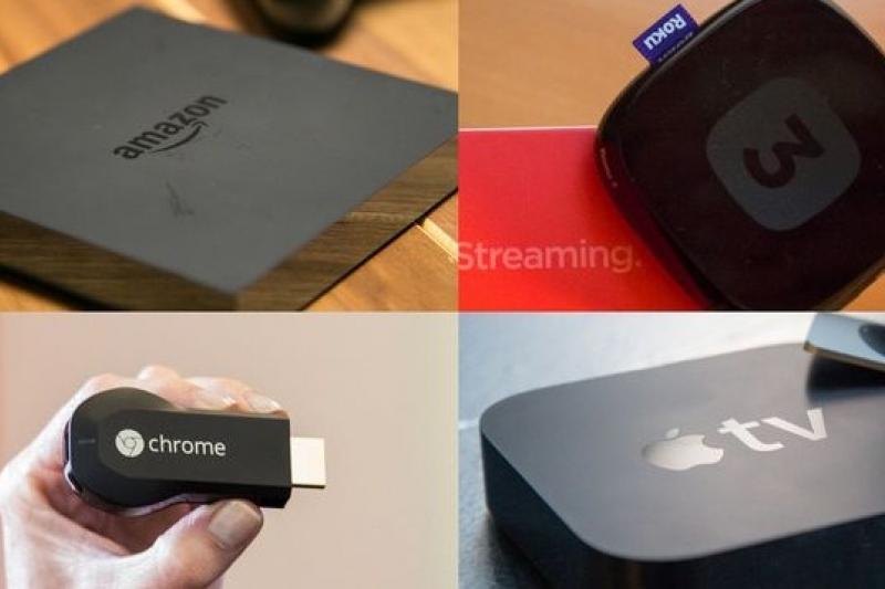 各科技巨擘大打客廳影音大戰:Amazon的Fire TV(左上)、Roku(右上)、谷歌的Chromecast電視棒(右下)、蘋果的Apple TV(右下)。(取自網路)