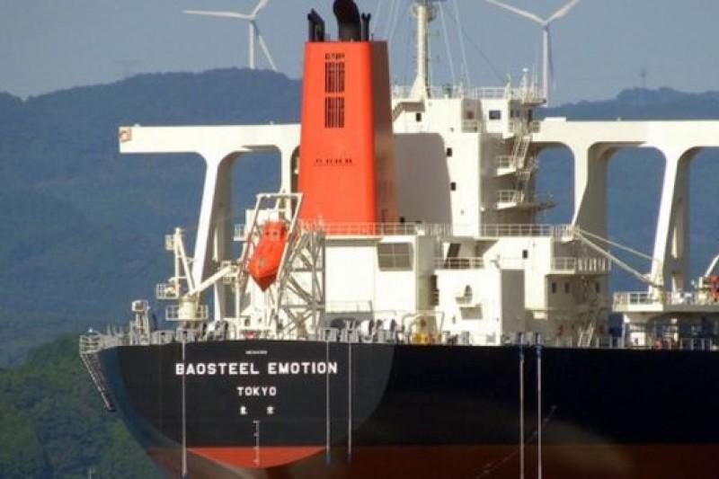 被上海海事法院扣押的日本三井貨輪「Baosteel Emotion」號。(取自網路)