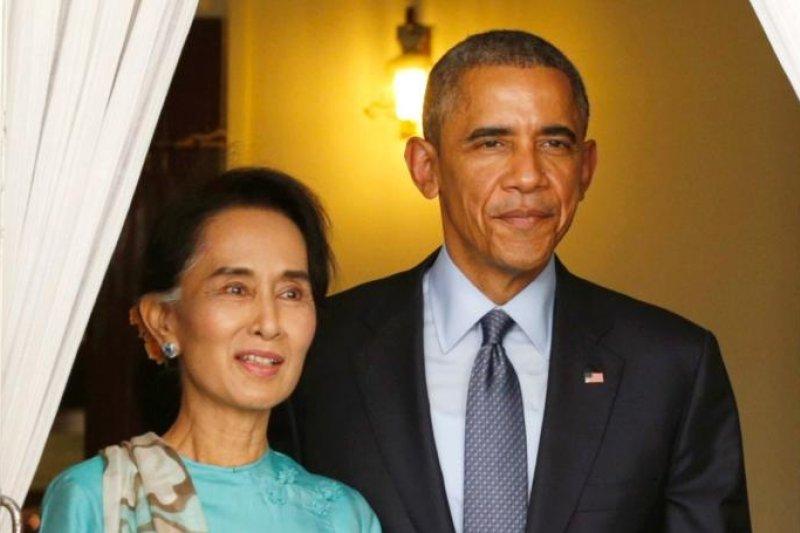 奧巴馬與昂山素姬會面。