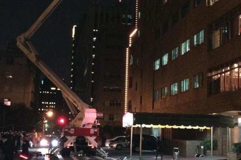 台北福華大飯店31日發生火警,消防局立即派員搶救(讀者提供)