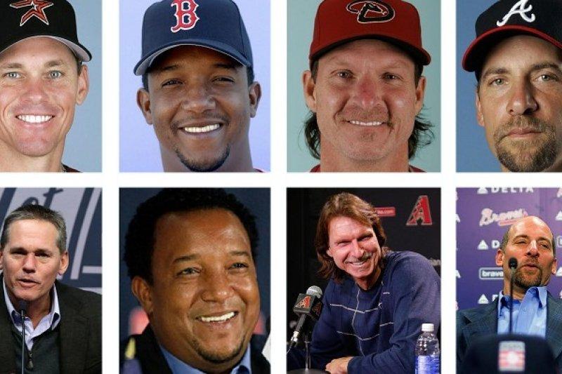 2015年美國職棒名人堂得主畢吉歐、馬丁尼茲、強森與史莫茲(從左至右)。(美聯社)