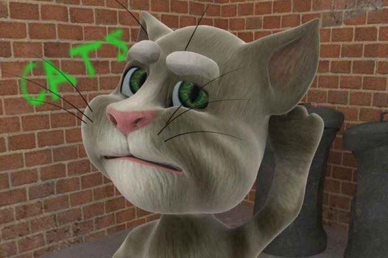 湯姆貓會重複你說的話,但是,你說「進行一個動作」,他聽得懂嗎?(截取自手機程式畫面)