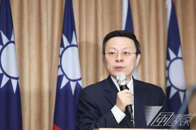 陸委會主委王郁琦22日舉行年終記者會。(林韶安攝)