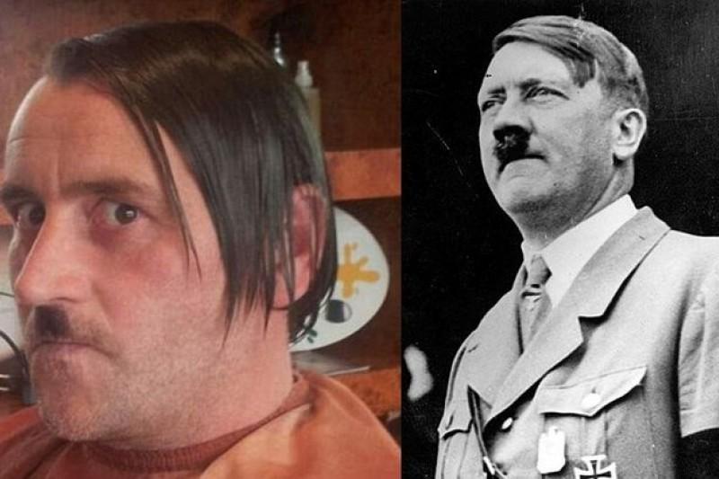 PEGIDA領袖巴赫曼(左)與希特勒(右)。