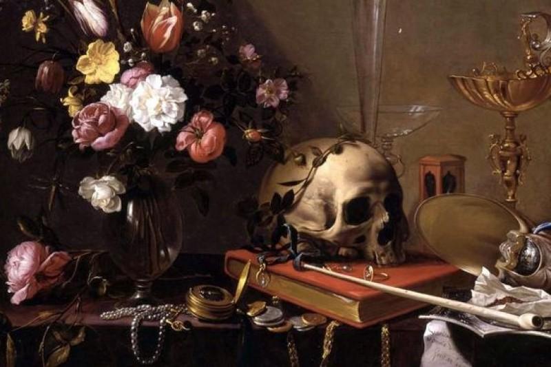 因為懷錶風波,作家們引經據典為柯文哲上一堂關於教養和謙虛的課。(取自維基百科/Adriaen van Utrecht- Vanitas - Still Life with Bouquet and Skull)
