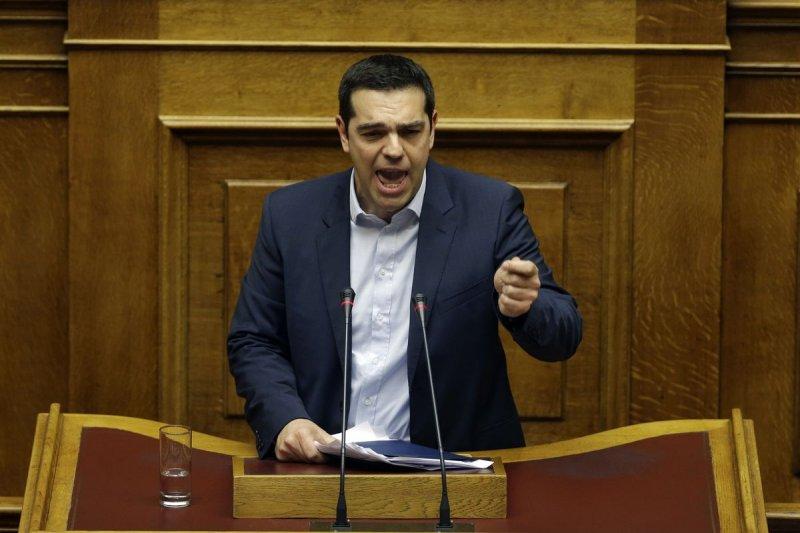 希臘總理齊普拉斯8日向國會發表首次施政演說,堅持反撙節立場。(美聯社)