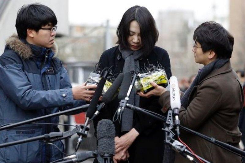 南韓「堅果門」事件主角趙顯娥12日出面道歉。(美聯社)
