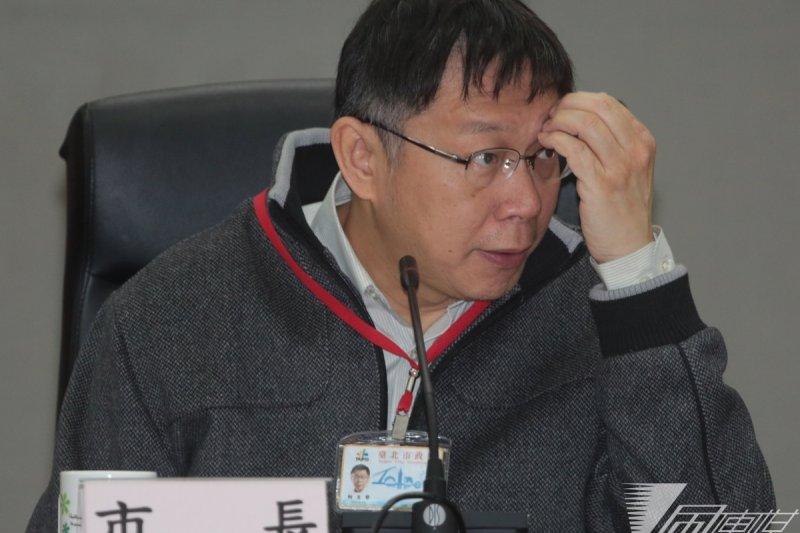 台北市長柯文哲4日表示,北市已選好22處公辦都更地點,為避免房價炒作,暫不公開位置。圖為4日上午柯文哲與里長座談。(余志偉攝)