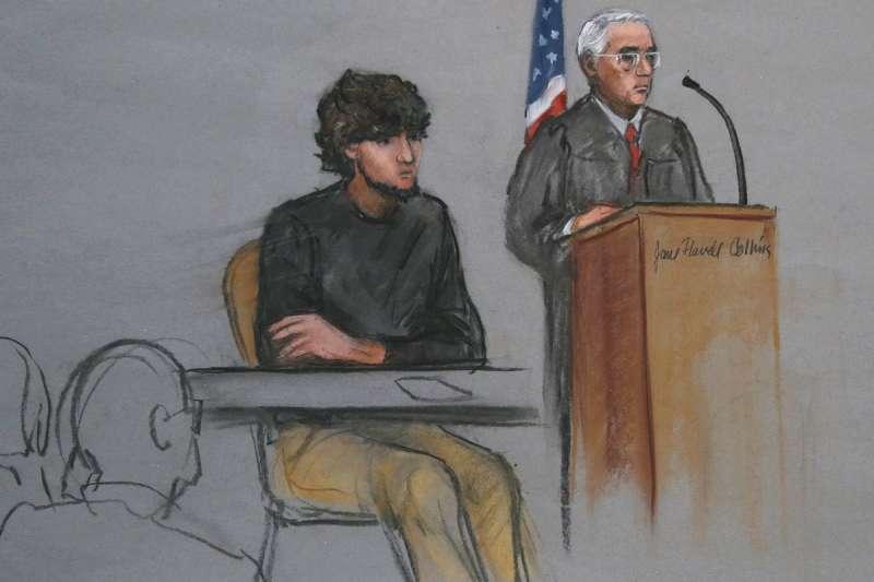 波士頓馬拉松爆炸案被告喬卡查納耶夫出庭受審的素描圖(資料照,美聯社)