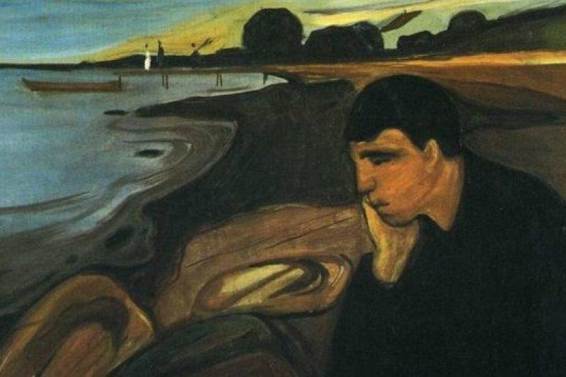 挪威畫家孟克的作品《憂鬱》(取自網路)