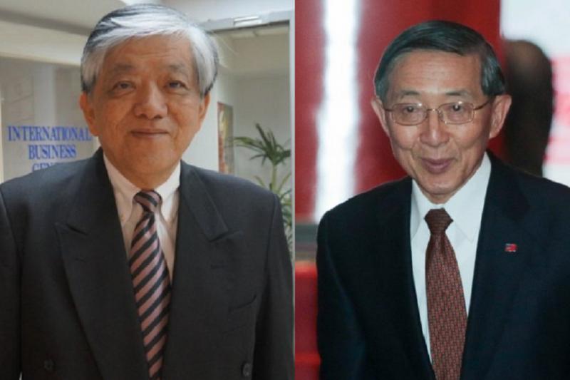 國宴分藍綠桌,義美經理高志明(左)坐綠不坐藍惹來訕笑;外交部長林永樂(右)則為引導不周致歉。