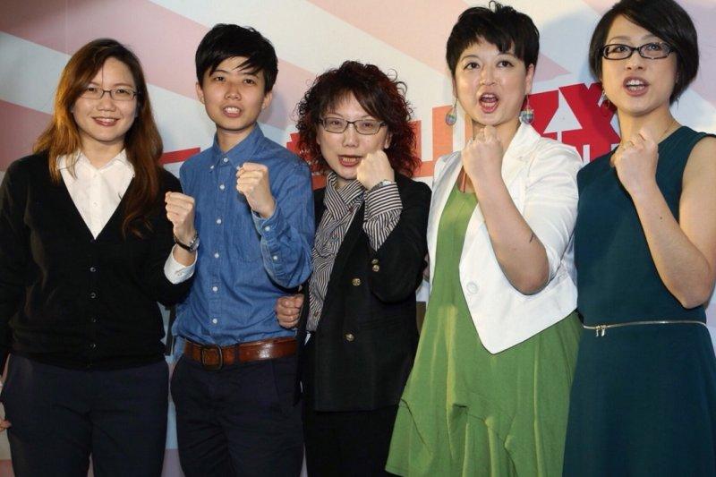 社民黨一舉推出五位女性立委參選人。(楊子磊攝)