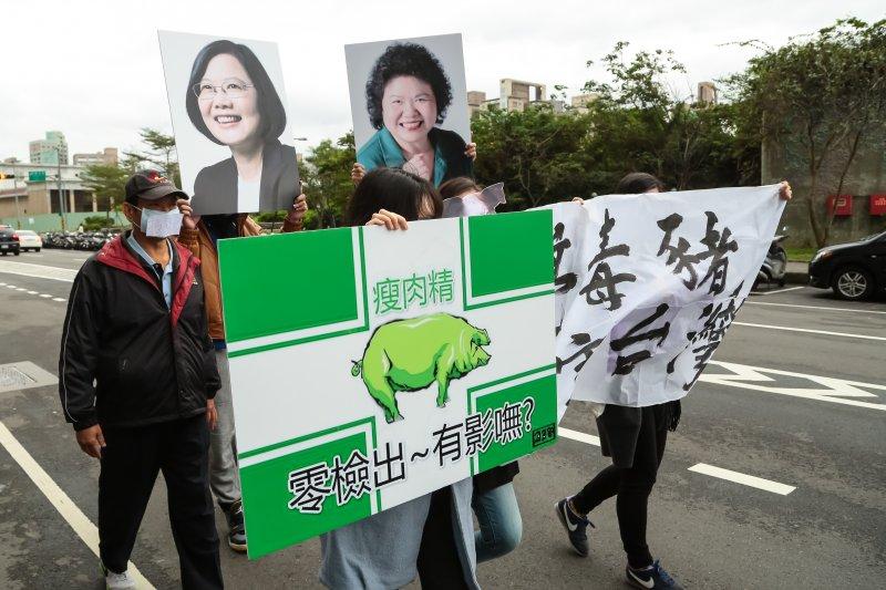 豬農至民進黨總統候選人蔡英文總部前抗議美豬政策。(顏麟宇攝)
