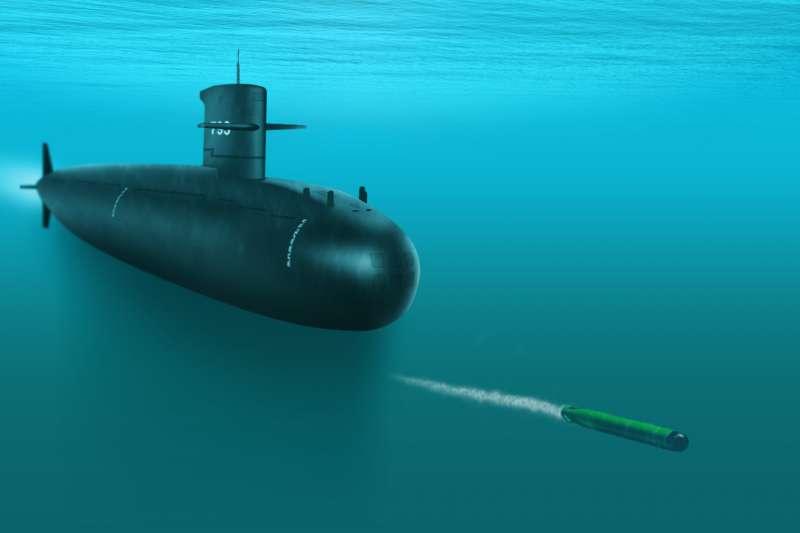 海軍代號「劍魚專案」計劃,已正式向美國提出採購MK-48 ADCAP先進潛射魚雷(圖中魚雷),來取代海龍、海虎潛艦目前使用近30年的德製SUT重型魚雷。圖為海龍發射魚雷想像圖。(取自美國海軍/製圖:風傳媒)