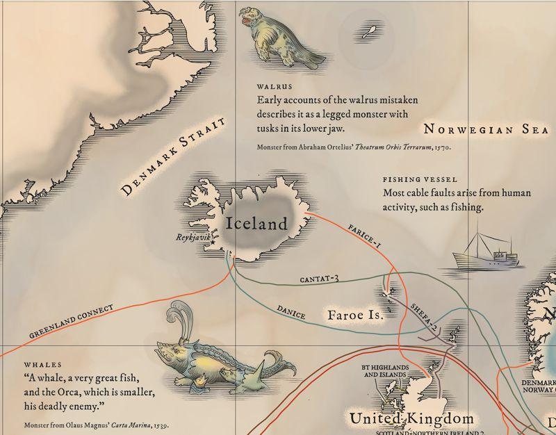 冰島附近海域的海怪。(取自TeleGeography)