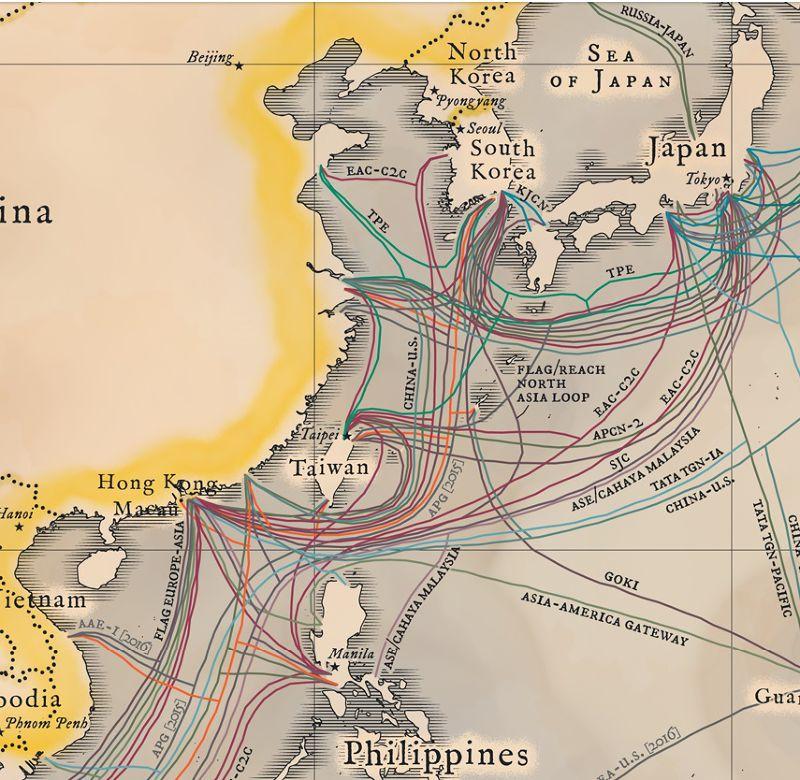 亞太地區的海底電纜。(取自Telegeography)