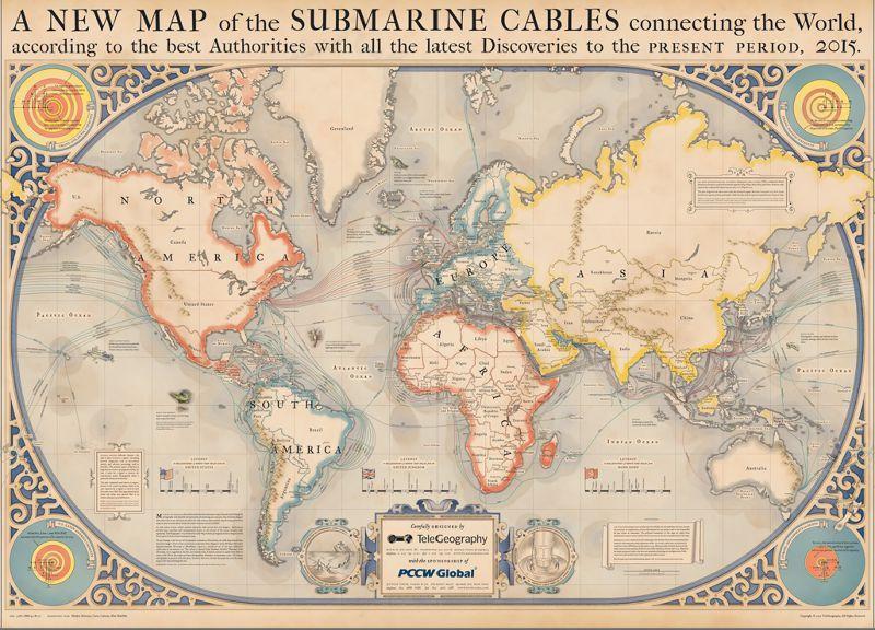 向大航海時代致敬的2015全球海底電纜圖。(取自Telegeography)