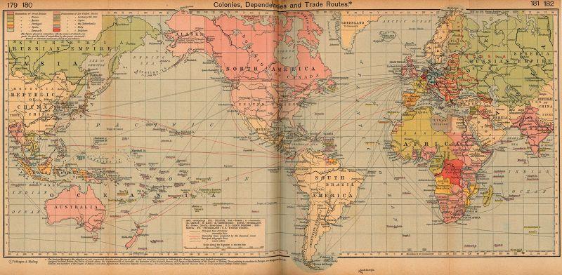 1912年的全球貿易航海圖。(取自美國德州大學圖書館)