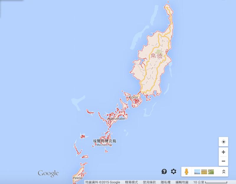 帛琉的國土非常迷你,陸地面積僅有458平方公里。(Google地圖)