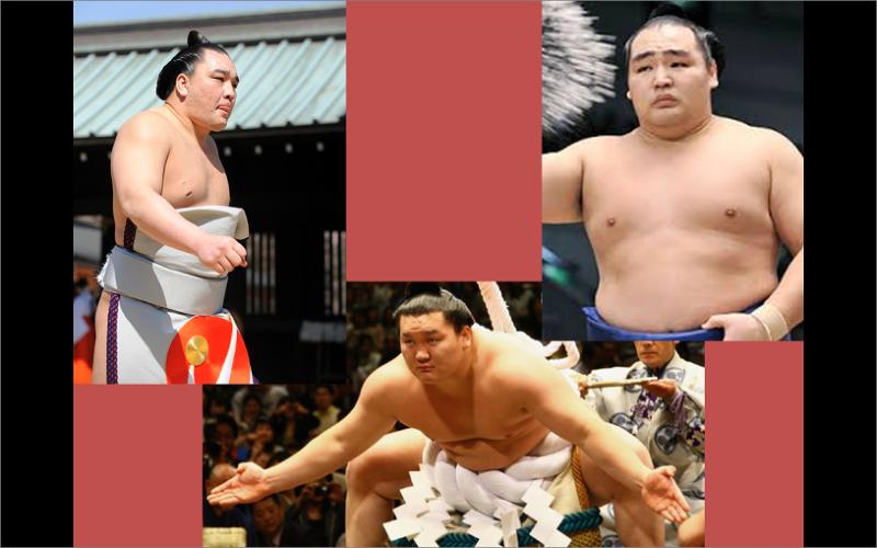 目前的三位橫綱─白鵬(下)、日馬富士(左)與鶴龍(右)均為蒙古人。(圖片來源:筆者改自 http://ppt.cc/PtM5、http://ppt.cc/HwV~、http://ppt.cc/1TqJ)