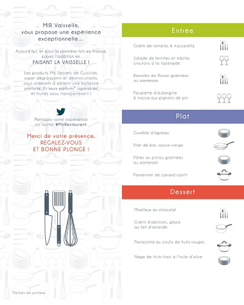 MIR Restaurant的菜單沒有數字,每一道菜的代價是客人飯後需洗幾個餐具。(圖/MIR Restaurant)